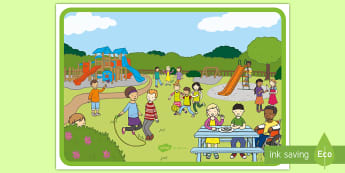 Actions Scene Poster - playground Scene Picture - playground scene, picture, jumping, skipping, running
