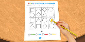 Visual Perception Colour Matching Worksheet - colour, matching