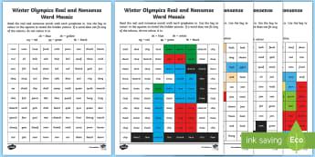 Winter Olympics Phase 3 Phonics Mosaic Worksheet / Activity Sheets - Korea, Sports, Decode, Blend, Digraphs