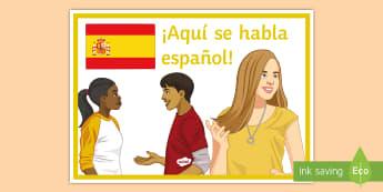 We Speak Spanish In Here Door Display Poster - languages, MFL department, decoration, classroom, organisation