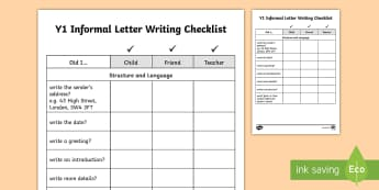 Year 1 Informal Letter Writing Checklist - letters, checklist, informal, writing, assessment, self-assess, peer-assess, peer assessment, self-a