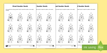 Mixed Number Bonds to 10 on Robots Worksheet - number bonds, Number bonds, robot, single digit addition, single digit subtraction