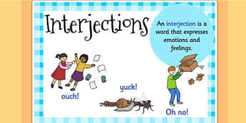 Interjection Display Poster - interjections, grammar, literacy
