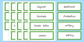 USA Civil War Vocabulary Word Cards - US Resources, Civil War, Vocabulary, usa, united, states, america, history