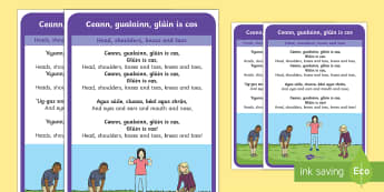 Ceann, gualainn, glúin is cos  (Head, Shoulders, Knees and Toes) Song Lyrics Gaeilge/English - Ceann, gualainn, glúin is cos  (Head, Shoulders, Knees and Toes) Song Lyrics Gaeilge/English