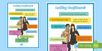 Lacking Confidence? A4 Display Poster - English - young people, families, PSHCE, Emotions, anxiety, self-help