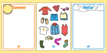 Winter and Summer Clothes Sorting Activity - winter, summer, clothes