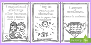 Growth Mindset Statements Mindfulness Colouring Pages English/Spanish - colouring pages, colours, crayons, motivation, motor skills, creativity, EAL
