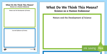 What Does It Mean? Science as a Human Endeavour Activity Sheet - science as human endeavor, Australian science, Australian Curriculum, science assessment sheet, ACSH