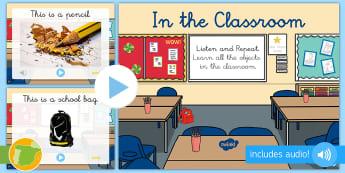 Presentación con audio: En la clase en Inglés  - Relacionar, palabras, Material, Escolar, escuela, School, Stationery, ESL, con audio