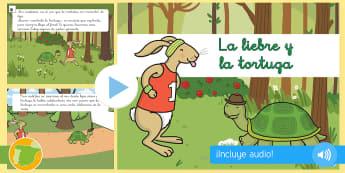 Presentación: La liebre y la tortuga - cuento, infantil, moraleja, liebre, tortuga, fábula, fabula, animales,,Spanish