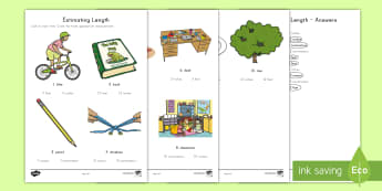 Estimating Length Activity Sheet - estimation, length, measurement, inches, centimeters, feet, meters, worksheet