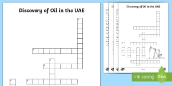 Discovery of Oil in the UAE Crossword - oil discovery, UAE history, petrol discovery, UAE About, UAE facts