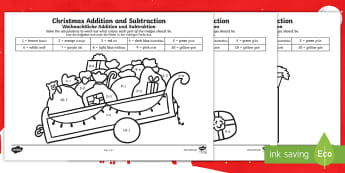 Christmas Addition and Subtraction to 10 Colour by Number English/German - Xmas, December, Advent, Numbers, Colouring, EAL, German, English-German,,German-translation