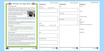 All About the Super Bowl Differentiated Go Respond Worksheet / Activity Sheets - Super Bowl, american football, go respond