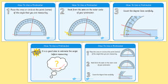 How To Use A Protractor Display Posters - how to use a protractor, display, poster, sign, protractor, how to, using, use, outer scale, vertex, protractor, angles, angle, measuring, Math, maths