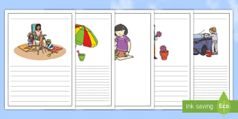 Summer Holiday Bucket List Writing Frames - sun, beach, template, lines, write,