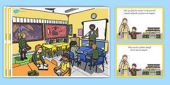 School Scene and Question Cards Romanian Translation - romanian, school scene, question, cards