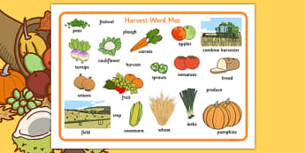 Harvest Word Mats - Word mat, Harvest, Autumn, seasons,  A4, display, harvest,  harvest festival, fruit, apple, pear, orange, wheat, bread, grain, leaves, conker