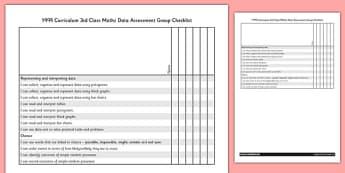 1999 Curriculum 3rd Class Maths Data Assessment Group Checklist - roi, gaeilge, maths, curriculum, 1999