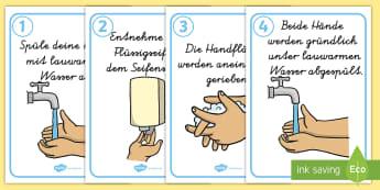 Korrektes Hände waschen Poster für die Klassenraumgestaltung - Korrektes Hände waschen Wortschatz mit Bildern, Wie man sich die Hände wäscht, korrektes Hände w
