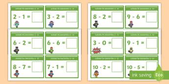 Scăderi în concentrul 0 - 10 Cartonașe - află termen necunoscut, matematică, adunări, scăderi, activități, jocuri, fișe,Romanian