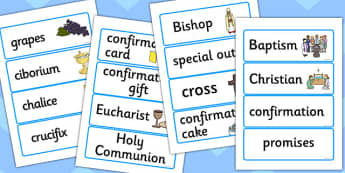 Catholic Confirmation Word Cards - confirmation, word cards