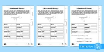 Year 2 Maths Homework Estimating and Measuring Length Go Respond Worksheet / Activity Sheet - year 2, maths, homework, measure, estimating, centimetres, cm, comparing, measurement worksheet,