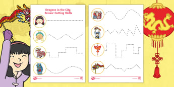 Dragons in the City Cutting Skills Activity Sheet - Chinese New Year, cutting out, cutting in a straight line, scissor handling, motor skills, fine moto