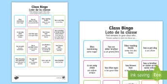 Class Welcome Transition Bingo - English/French - bingo board, welcome, transition, back to school, new class, EAL, game, conversation, starter