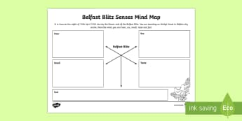 Belfast Blitz Senses Mind Mapping Writing Worksheet / Activity Sheet - World Around Us KS2 - Northern Ireland, Second World War, war, Belfast, Senses, Poetry, Creative Wri