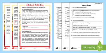 KS1 All About Bodhi Day Differentiated Reading Comprehension Activity - buddhist celebrations, buddhist day of recognition, buddha's enlightenment, celebrating buddha, med