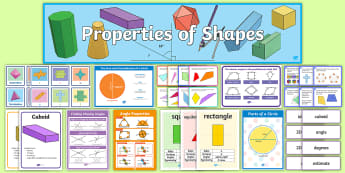 UKS2 Properties of Shapes Working Wall Display Pack - maths display, classroom display, 2d shapes, acute, obtuse, straight line, 3d shapes, diameter, radi