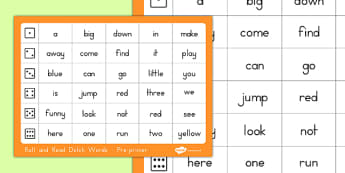Dolch Word List Pre-Primer Roll and Read Mat - usa, america, dolch, word list, roll and read, mat, pre-primer