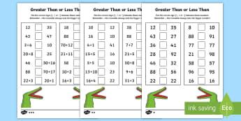 Greater Than and Less Than Worksheet / Activity Sheets - year 2, maths, place value, homework, greater than, less than, ordering numbers, worksheets