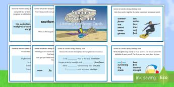 3-4 Summer in Australia Literacy Challenge Cards - literacy, challenge, activity, Seasons, Australia, Summer, weather