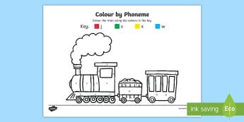 Colour by Phoneme Train Phase 3 j v w x Colouring Pages - colour, phonemes, train, phase 3, jvwx ,trian,phonems,jvw,jvx, letters and sounds ohase 3, lettes, L