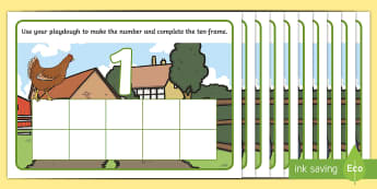 Farm Ten-Frame Number Playdough Mats -  Early Years, EYFS, Foundation, Mathematics, Maths, Maths Mastery,Counting, Subitising