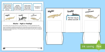 Sharks Myth or Reality?  Activity Sheet - Home Education Lapbooks, sharks, shark project, shark lapbook, sorting, fact and fiction, shark rese