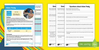 Adam Peaty Differentiated Reading Comprehension Activity