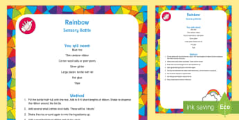 Rainbow Sensory Bottle - rainbow, sensory bottle, sensory play, exploration, observation, senses, weather