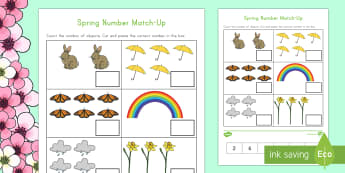 Spring Number Match-Up Activity Sheet - Spring, First day of Spring, Math, One-to-one correspondence, Cut and Paste, Numbers, Rainbow, Umbre