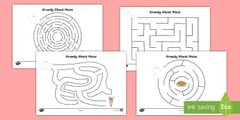 Greedy Ghost Maze Activity Sheets - Home Education Requests, ghostbusters, slimer, maze, puzzle, ghost, worksheet, worksheets