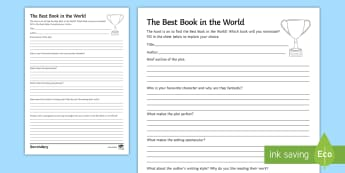 The Best Book in the World Activity Sheet - World Book Day, english, literature, reading, creative writing, novels, books.