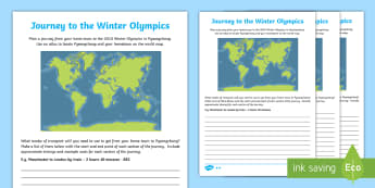 KS2 Journey to the Winter Olympics Differentiated Activity Sheet - Transport, Timetables, Cost, South Korea, Sport, worksheet