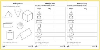 3D Shape Hunt Activity Sheet - 3d, shape, hunt, worksheet, sheet