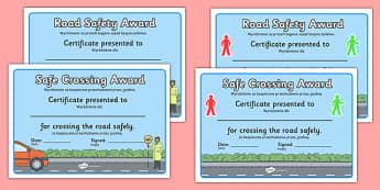 Road Safety Award Certificates Polish Translation - polish, safety, stay safe, road safety, certificate, award, crossing, safe crossing, good behaviour