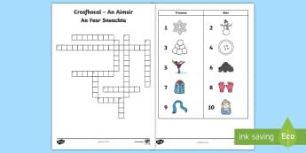 The Snowman Crossword Gaeilge - snowman, snow, man, cross, word, crossword, gaeilge