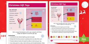 Christmas Gift Tags  Craft Instructions - Christmas crafts, Christmas fair, paper craft, homemade, festive