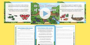 At the Bottom of the Garden Poem Pack - EYFS, poem, poetry, rhyme, garden, insect, bug, beetle, bumblebee, bee, ladybird, worm, earthworm, c
